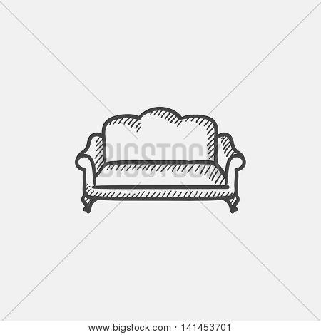 Sofa sketch icon for web, mobile and infographics. Hand drawn vector isolated icon.