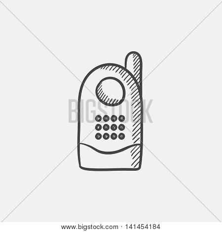 Radio baby monitor sketch icon for web, mobile and infographics. Hand drawn vector isolated icon.