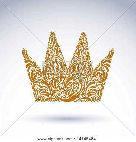 Flower-patterned brown decorative crown art royal vector symbol. King coronet