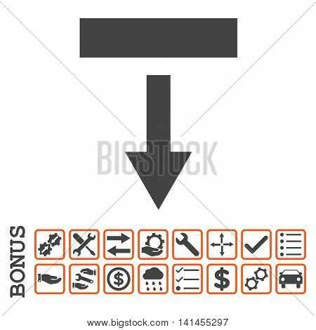 Pull Down icon with bonus pictograms. Vector style is flat iconic symbol, orange and gray colors, white background. Bonus style is bicolor square rounded frames with symbols inside.