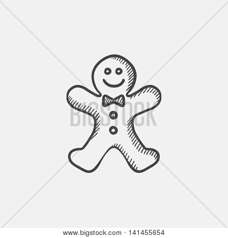 Gingerbread man sketch icon for web, mobile and infographics. Hand drawn vector isolated icon.