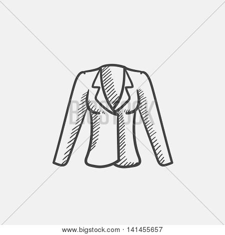 Jacket sketch icon for web, mobile and infographics. Hand drawn vector isolated icon.