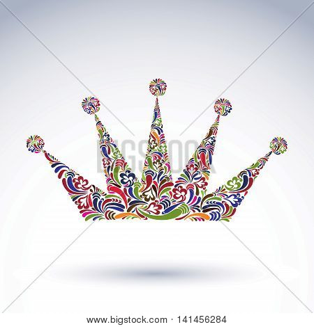 Colorful flower-patterned crown coronation vector design element.
