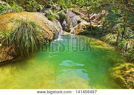 the waterfalls of Polilimnio Messinia Peloponnese Greece