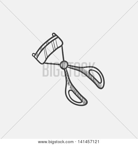 Eyelash curler sketch icon for web, mobile and infographics. Hand drawn vector isolated icon.