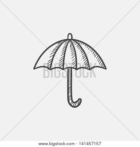 Umbrella sketch icon for web, mobile and infographics. Hand drawn vector isolated icon.