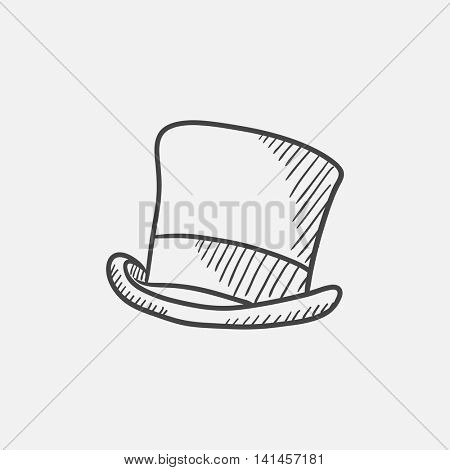 Cylinder hat sketch icon for web, mobile and infographics. Hand drawn vector isolated icon.