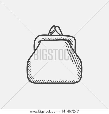 Purse sketch icon for web, mobile and infographics. Hand drawn vector isolated icon.