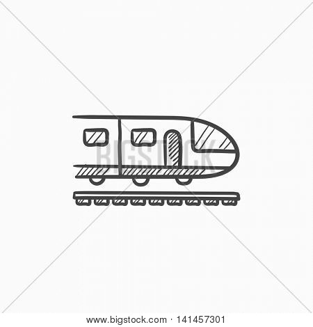 Modern high speed train vector sketch icon isolated on background. Hand drawn Modern high speed train icon. Modern high speed train sketch icon for infographic, website or app.