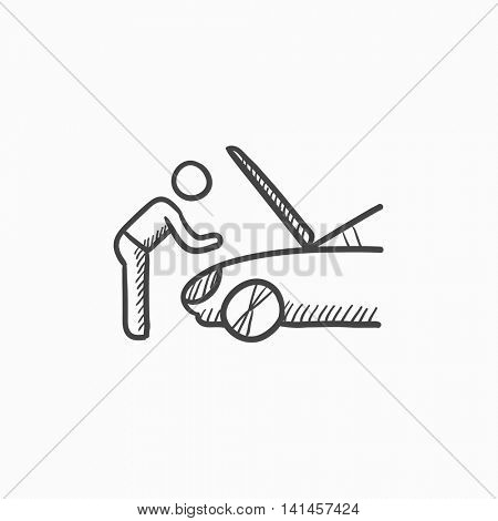 Man fixing car vector sketch icon isolated on background. Hand drawn Man fixing car icon. Man fixing car sketch icon for infographic, website or app.