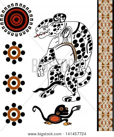 Ethnic pattern of American Indians: Aztecs, Mayans, Incas. Jaguar, monkey, sun. Set of patterns in the Mexican style. Vector illustration.