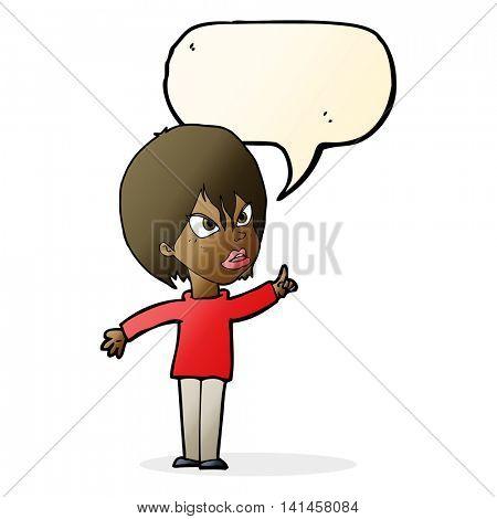 cartoon woman arguing with speech bubble