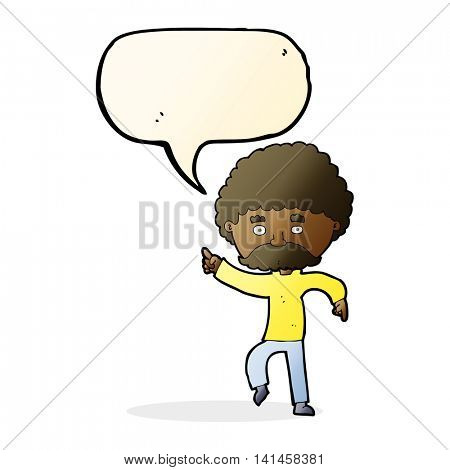 cartoon seventies style man disco dancing with speech bubble