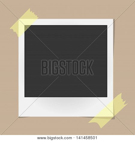 Realistic Vector Photo Frame On Sticky Tape On Beige Background. Template Photo Design. Vector Illus