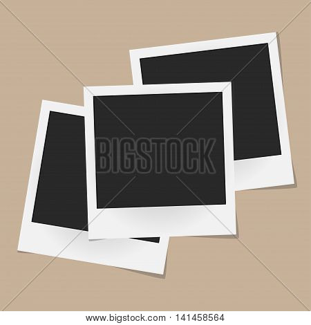 Collage Of Realistic Vector Photo Frames Isolated On Beige Background. Template Retro Photo Design.