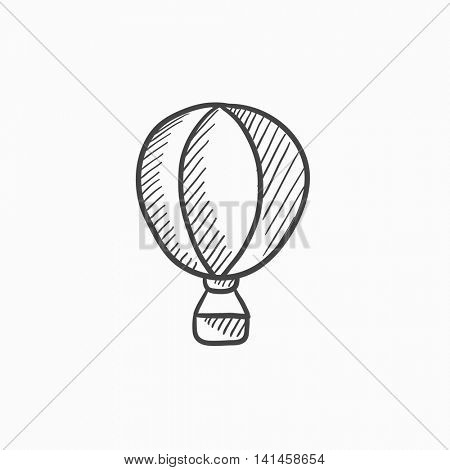 Hot air balloon vector sketch icon isolated on background. Hand drawn Hot air balloon icon. Hot air balloon sketch icon for infographic, website or app.