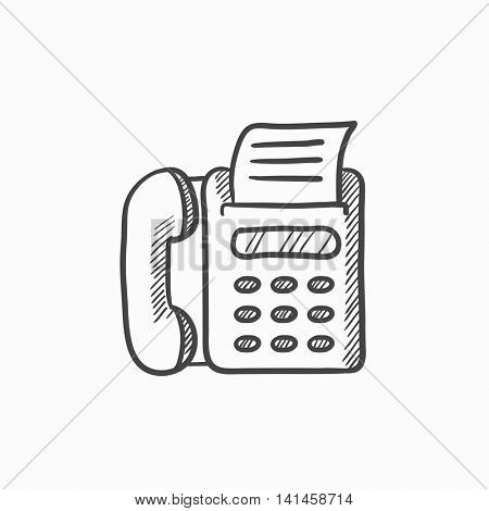 Fax machine vector sketch icon isolated on background. Hand drawn Fax machine icon. Fax machine sketch icon for infographic, website or app.
