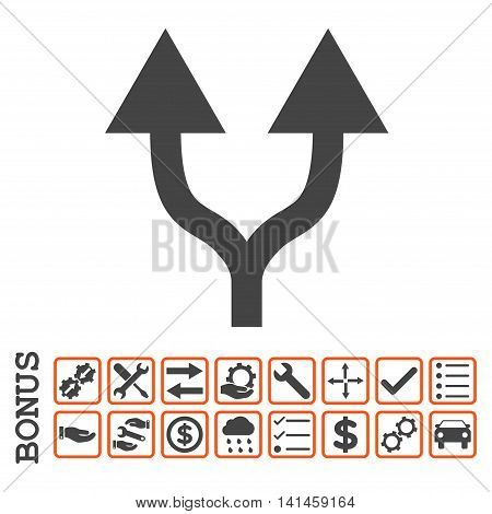 Split Arrows Up icon with bonus pictograms. Vector style is flat iconic symbol, orange and gray colors, white background. Bonus style is bicolor square rounded frames with symbols inside.