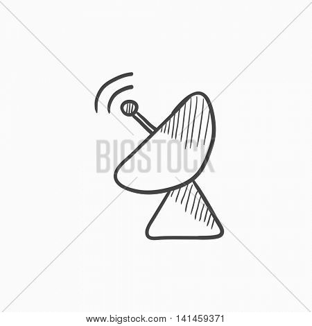 Radar satellite dish vector sketch icon isolated on background. Hand drawn Radar satellite dish icon. Radar satellite dish sketch icon for infographic, website or app.