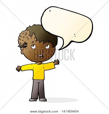cartoon boy with growth on head with speech bubble