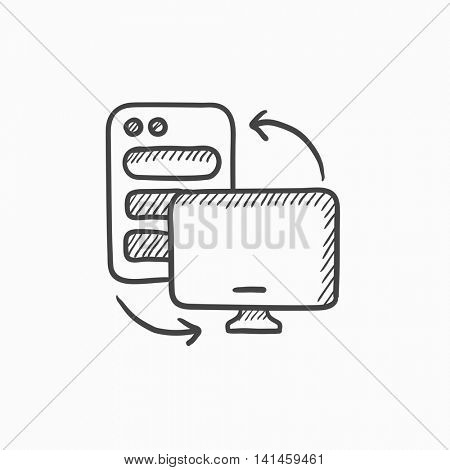 Personal computer set vector sketch icon isolated on background. Hand drawn Personal computer set icon. Personal computer set sketch icon for infographic, website or app.