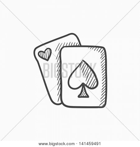 Playing cards vector sketch icon isolated on background. Hand drawn Playing cards icon. Playing cards sketch icon for infographic, website or app.