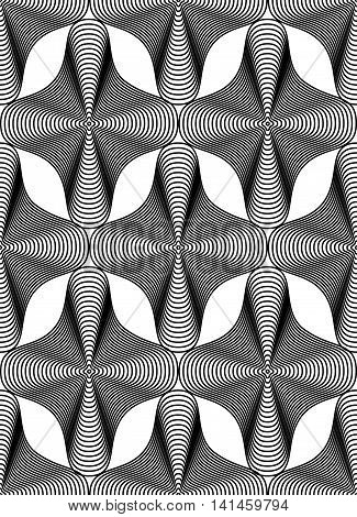 Ornate vector monochrome abstract background with black lines.