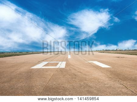 Runway, airstrip on a bluesky background aviation concept