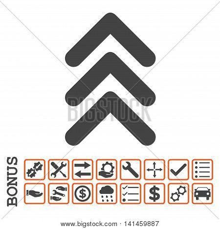 Triple Arrowhead Up icon with bonus pictograms. Vector style is flat iconic symbol, orange and gray colors, white background. Bonus style is bicolor square rounded frames with symbols inside.