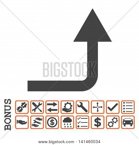 Turn Forward icon with bonus pictograms. Vector style is flat iconic symbol, orange and gray colors, white background. Bonus style is bicolor square rounded frames with symbols inside.