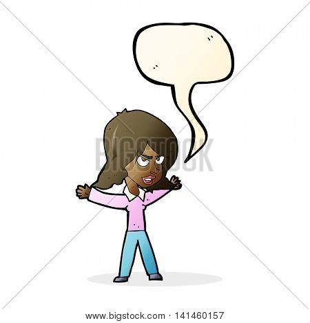 cartoon woman gesturing with speech bubble