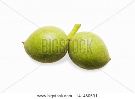 Walnut isolated on white background. Green young walnut. Nut in shell