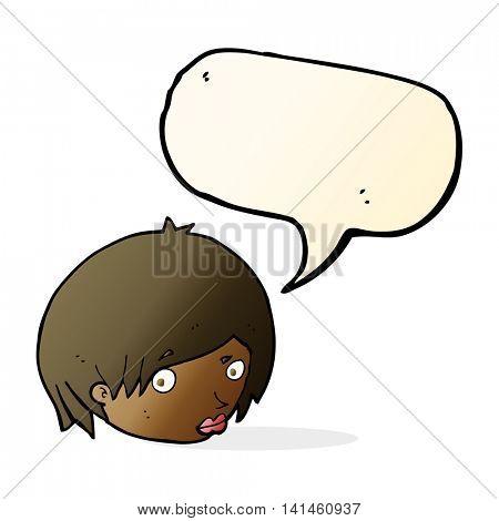 cartoon female face with raised eyebrow with speech bubble