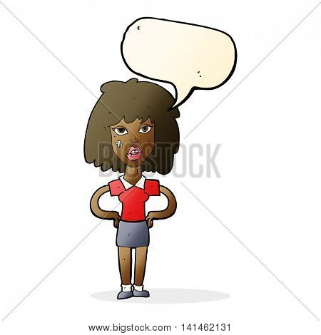 cartoon tough woman with speech bubble