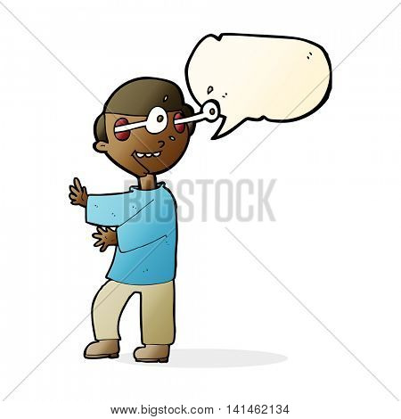 cartoon boy with popping out eyes with speech bubble