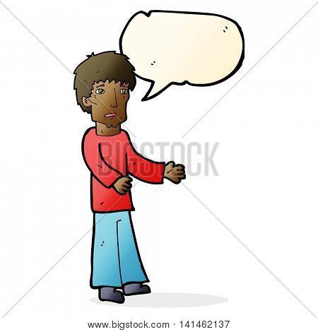 cartoon man explaining with speech bubble