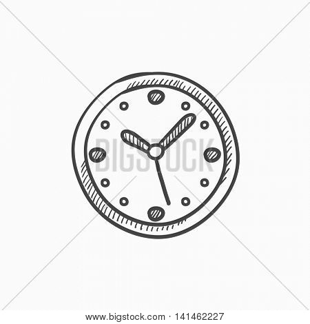 Wall clock vector sketch icon isolated on background. Hand drawn Wall clock icon. Wall clock sketch icon for infographic, website or app.