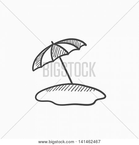 Beach umbrella vector sketch icon isolated on background. Hand drawn Beach umbrella icon. Beach umbrella sketch icon for infographic, website or app.