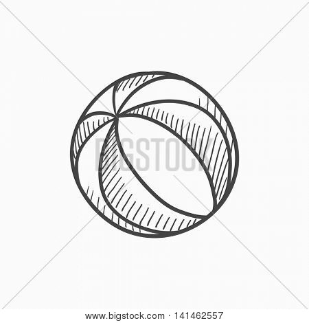 Beach ball vector sketch icon isolated on background. Hand drawn Beach ball icon. Beach ball sketch icon for infographic, website or app.
