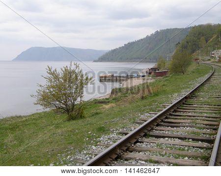 The old railway along Lake Baikal. Siberia. Russia