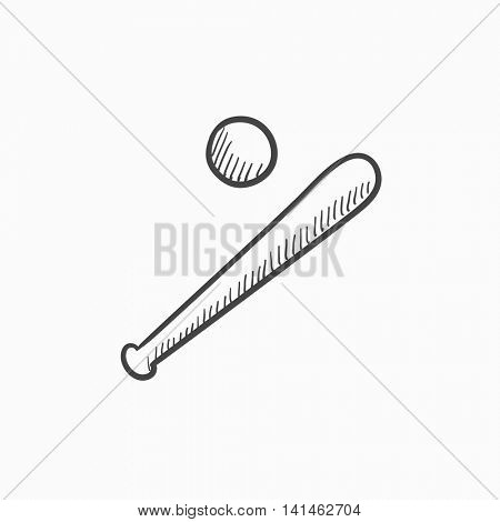 Baseball bat and ball vector sketch icon isolated on background. Hand drawn Baseball bat and ball icon. Baseball bat and ball sketch icon for infographic, website or app.