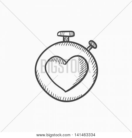 Stopwatch with heart sign vector sketch icon isolated on background. Hand drawn Stopwatch with heart sign icon. Stopwatch with heart sign sketch icon for infographic, website or app.