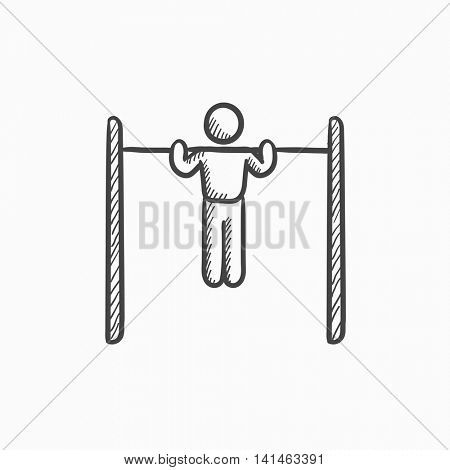 Gymnast exercising on bar vector sketch icon isolated on background. Hand drawn Gymnast exercising on bar icon. Gymnast exercising on bar sketch icon for infographic, website or app.