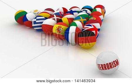 The European Union in the form of pyramids of billiard balls - the threat of terrorism - 3D illustration