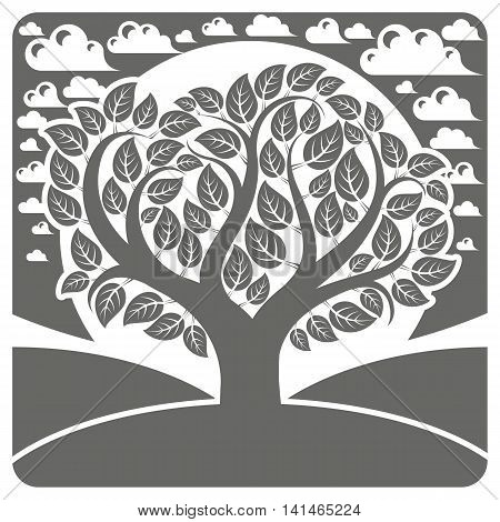 Art vector graphic illustration of stylized branchy tree and peaceful landscape with clouds countryside view.