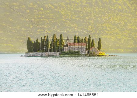 Island of Saint George (Ostrvo Sveti Dorde St.George) a natural island in Adriatic sea one of the two islets off the coast of Perast in Bay of Kotor Montenegro. Tourist travelling attraction.