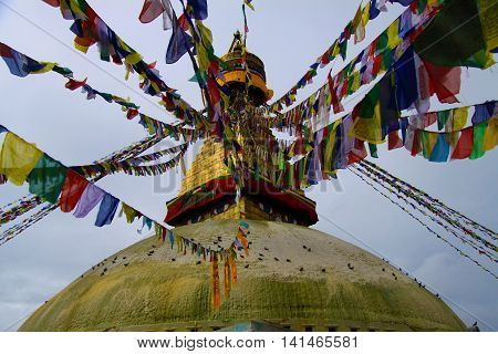 Boudhanath Stupa in Kathmandu , Nepal , one CBE s largest outside of Tibet