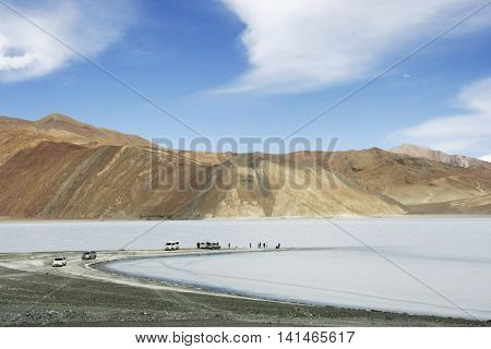 Leh Ladakh India - Pangong Tso or Pangong lake located between India and Tibet at 4350 meter from sea level. It will be ice lake during winter.