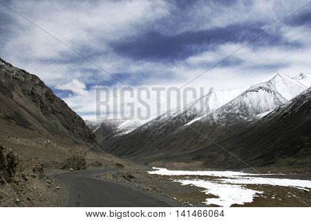Road in the Himalayas to Pangong lake in Lah Ladakh India