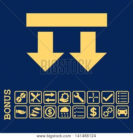 Bring Down icon with bonus pictograms. Vector style is flat iconic symbol, yellow color, blue background. Bonus style is square rounded frames with symbols inside.